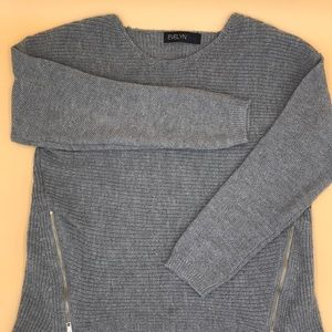 Sweaters - Grey High Low Sweater with Gold Zippers